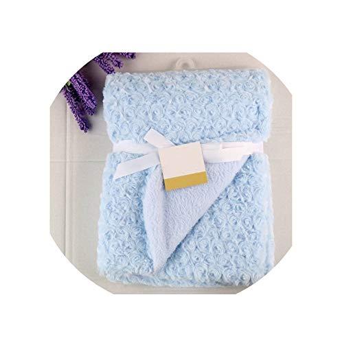 (Baby Blanket Newborn Thermal Warm Soft Rose Fleece Blankets & Swaddling Bedding Set Photography Infant Boy and Girl Wrap Swaddle,Blue)