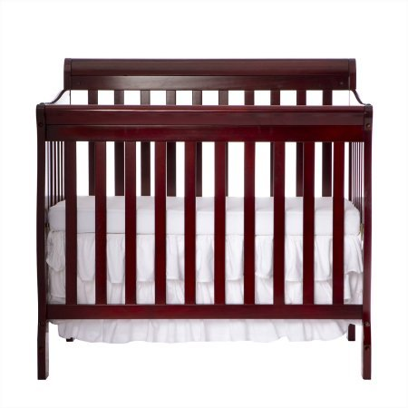 Mini Convertible Crib - Cherry - 4-in-1 Fixed-Side - Crib Converts Into Daybed and Twin Size Bed - Unisex - Wood Material - Solid Frame - Solid Pine Wood Finish BONUS E-book (Care Fixed Side Crib Child)