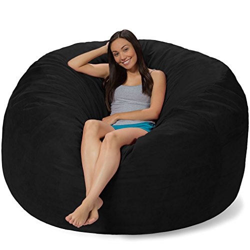 Comfy Sacks 6 ft Memory Foam Bean Bag Chair, Jet Black Cords