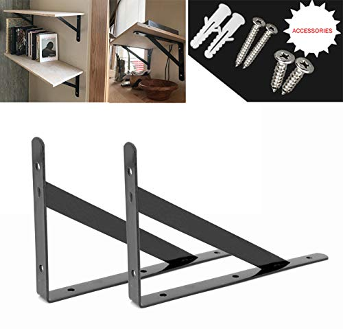 - Heavy Duty Shelf Brackets Floating Shelves Tripod Triangle Shelf Bracket Corner Brace Support Wall Hanging (Black) 6 inch by OVOV