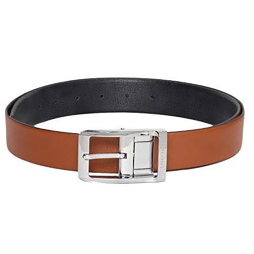 Otuoro Men's Handmade Textured Black and Tan Reversible belt with Hickok Reversible...