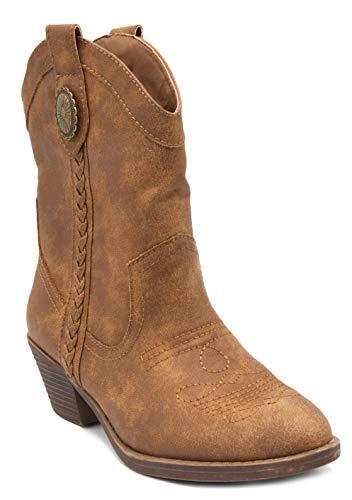 (Rampage Women's Sarahtoga Ladies Western Boot Medium Shaft with Braided Detail Cognac 9.5)
