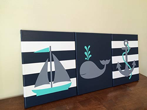 CANVASPrtint Nautical Nursery Decor Baby boy Girl Nautical Room Decor Sailboat Nursery Whale Decor Whale Nursery Nautical Theme Gray and Navy Nautical