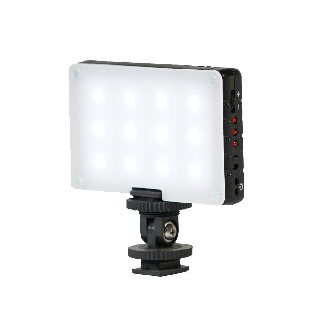 EPG Compact On Camera Dimmable LED Daylight Pocket Light Fixture for DSLR Sony, Nikon, Canon, iPhone, Etc with Built-in Battery - 12 Bulbs Great for Video Vlogging and Selfies