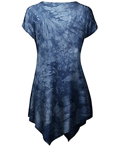 Moollyfox Ocasional De Las Mujeres De Manga Corta Camiseta Impresa Oscuro Azul