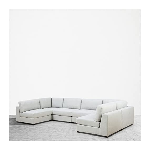 UrbanFurnishing.net Reed 6-Piece Modular Customizable and Reconfigurable Deep Seating Sofa Sectional - Sophisticated modern low-profile design with plush casual comfort. Inspired by DWR's Reid Collection, but with thousands in savings! Oversized modules, extra wide and extra deep providing generous space to move around Upholstered with a designer Light Gray Modern Felt fabric. Multi-layer premium foam for long lasting comfort and anti-sag design contruction - sofas-couches, living-room-furniture, living-room - 41DFLCiRpQL. SS570  -