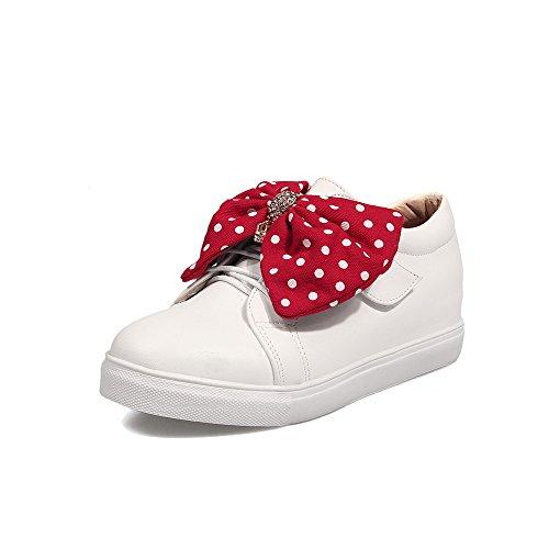 Super Unie Blanc Velcro Fibre Chaussures Légeres Femme Rond Couleur VogueZone009 nI1q5z