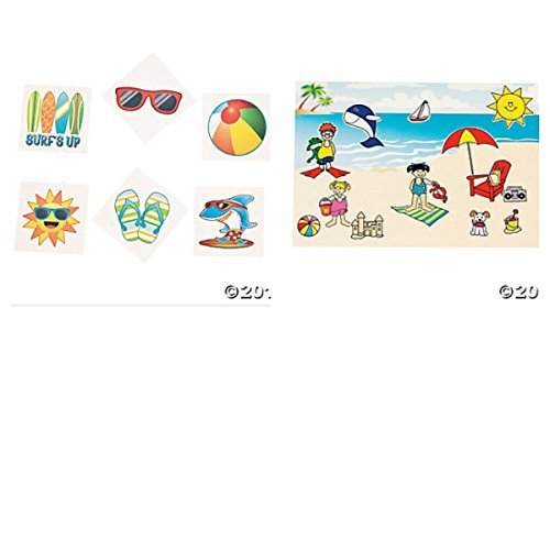 (Awesome SUMMER - BEACH Themed Party Favors - 12 MAKE A Beach Scene STICKER Sheets & 72 BEACH Tattoos - ACTIVITY - Vacation Teacher - CLASSROOM Day Care)
