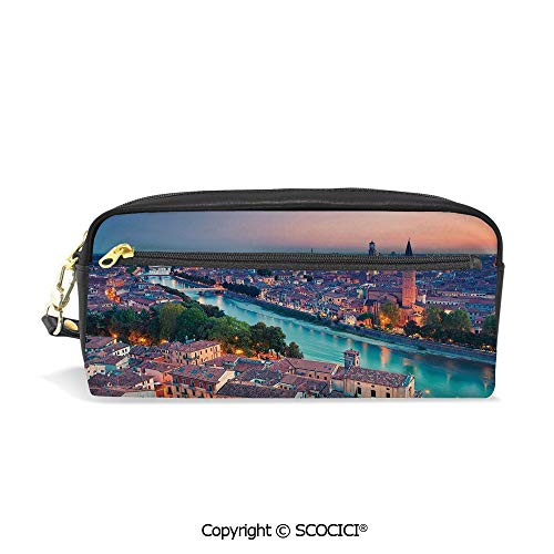Clear Verona Table (Girls Boys 3D Printed PU Pencil Case Holders Bag with Zipper Verona Italy During Summer Sunset Blue Hour Adige River Medieval Historcal Stationery Makeup Cosmetic Bags Back to School)