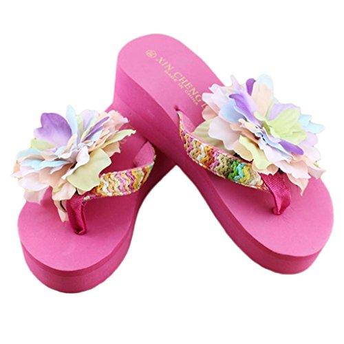 Ama (tm) Zomer Zomer Casual Platform Slippers Thong Sleehond Strand Sandalen Hot Pink
