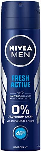 NIVEA MEN Fresh Active Deo Spray im (150 ml), Deo ohne Aluminium (ACH) mit erfrischender Formel, 48h Deodorant mit antibakteriellem Schutz pflegt die Haut