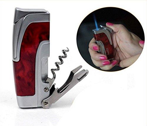 Honest Multi-Function Jet Torch Flame Lighter, Blue Flame with Beer Wine Bottle Opener Tools Cigar Cigarette Lighter