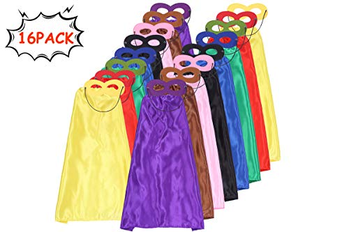 Superhero Capes for Kids Cape and Mask Set DIY Satin Capes Costume and Dress Up for Superhero Birthday Party Supplies 32 Pcs (16 Sets) -