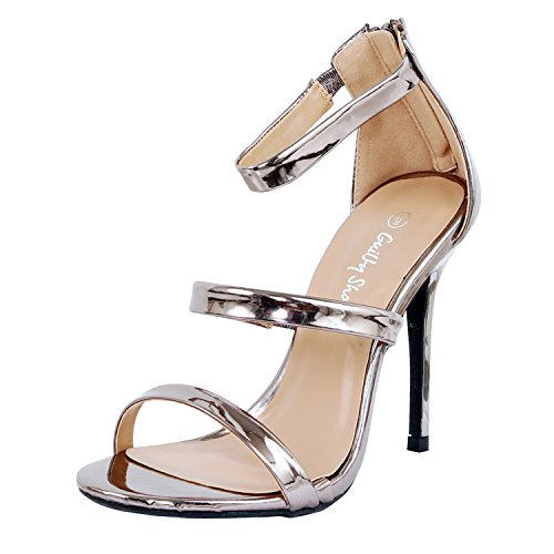 Guilty Shoes Women Glamour Sexy Metallic Ankle Strap Zip up Dress Sandal Sandals, Pewter Pu, 6 -