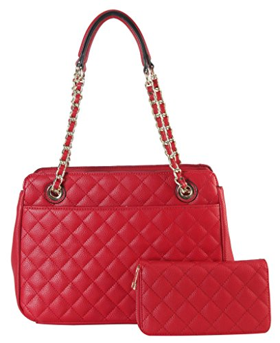 diophy-pu-leather-quilted-pattern-multi-spaced-tote-with-wallet-2-pieces-set-accented-with-chain-dou