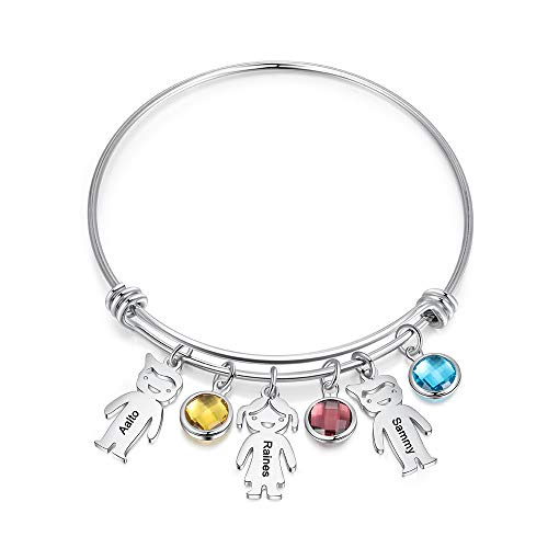Personalized Bangle Bracelet with Boy Girl Charms Custom Names Mother Daughter Jewelry with Simulated Birthstone Family…