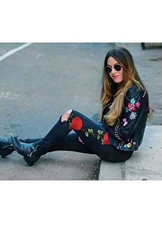 Dimensioni Rosa Buco Sexy Attillati Jeans Ricamato Alta Vita Le Donne E Strappata Sevozimda Black nq1Y07wx