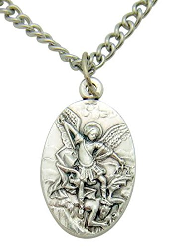 - Saint Michael Protector Silver Tone Metal Pendant Italian Medal Gift 3/4 Inch W Stainless Steel Chain