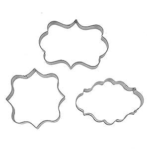 3Pcs Plaque Frame Fondant Cookie Cutter Set Square Rectangle Oval