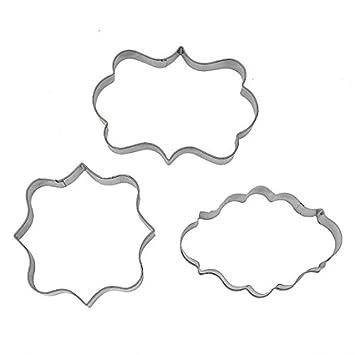 3pcs placa marco Fondant molde para galletas cuadrado rectangular Oval: Amazon.es: Hogar