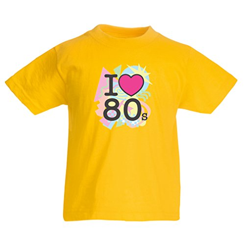 T Shirts For Kids I Love 80s Concert t Shirts Vintage Clothing Music t Shirts Band Merch (7-8 Years Yellow Multi Color)
