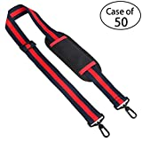 Case of 50, Ytonet Guitar Strap Replacement Adjustable Belt with Swivel Hooks for Bag-Red and Blue