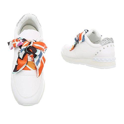 Ital-Design Sneakers Low Damenschuhe Schnürsenkel Freizeitschuhe Weiß G-117