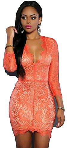 NEW Élégant Orange & Nude dentelle Mini robe Bodycon Club Parti Porter Taille L UK 12EU 40