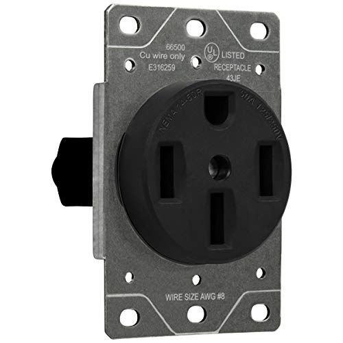 ENERLITES 50 Amp Range Receptacle Outlet for RV and Electric Vehicles, NEMA 14-50R, 3- Pole, 4 Wire (8, 6, 4 AWG Copper Only), 125/250V, 66500-BK, - Grade Outlets