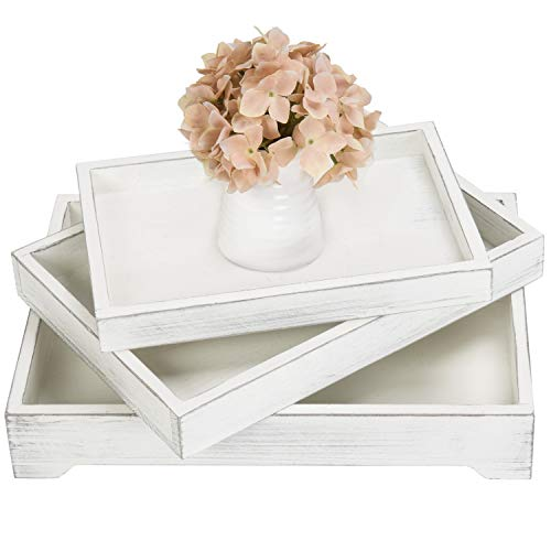 MyGift Set of 3 Vintage White Wood Nesting Breakfast Serving Trays