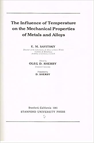 influence of temperature on the mechanical properties of metals and alloys e m savitsky amazoncom books