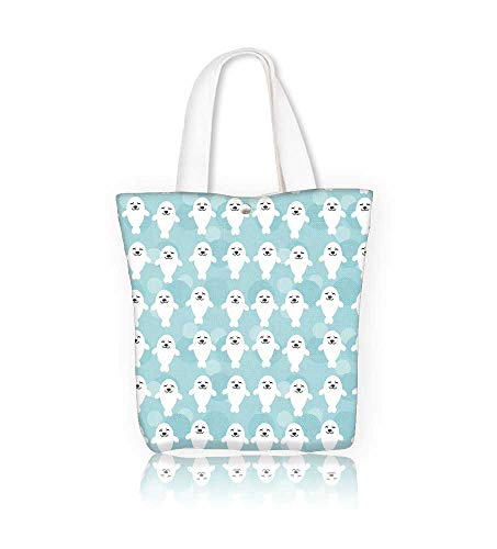 - Reusable Cotton Canvas Zipper bag Seamless with funny cute white seals animal on a blue Tote Laptop Beach Handbags W14xH15.7xD4.7 INCH
