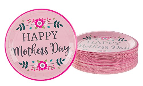 - Disposable Plates Set - 80-Pack Mother's Day Party Supplies - Mothers Day Design - Paper Party Supplies - 9 Inches