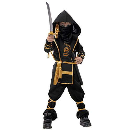 [Spring fever Child Kids Boys Ninja Halloween Costumes Fighter Stealth Hoody Toys Black Child XL for height(51.2