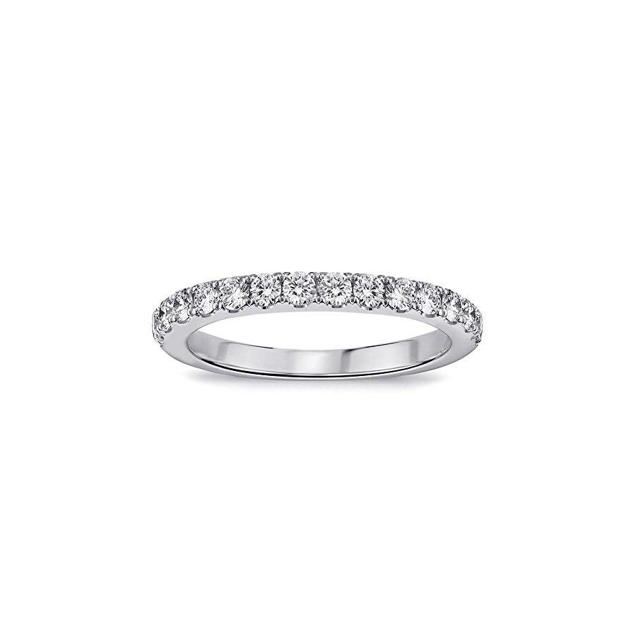 VIP Jewelry Art 0.55 CT TW Pave Set Diamond Anniversary Wedding Ring in 14k White Gold
