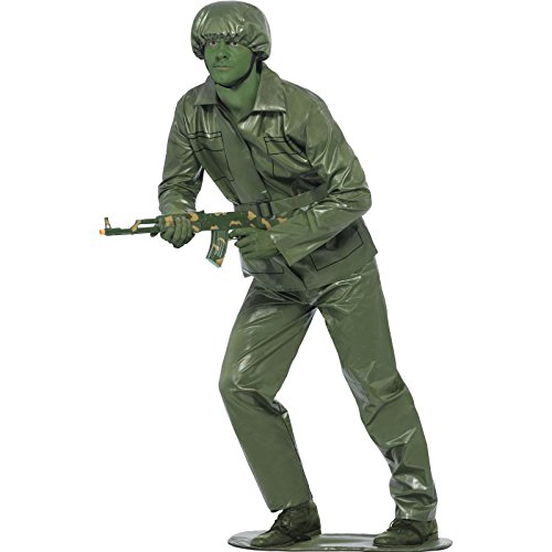 Army Men Costume - Smiffy's Men's Toy Soldier Costume Top Trousers Belt Hat and Foot-Base, Green, Medium