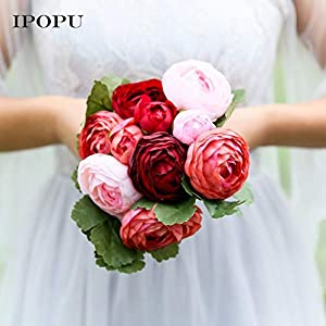 HATABO Camellia Artificial Flowers Rose Latex 10pcs Rose Camellia Silk Flower Artificial Flowers Hands Holding Bridal Bridesmaid Bouquet Latex Real Touch Floral Wedding Party (Random) 50