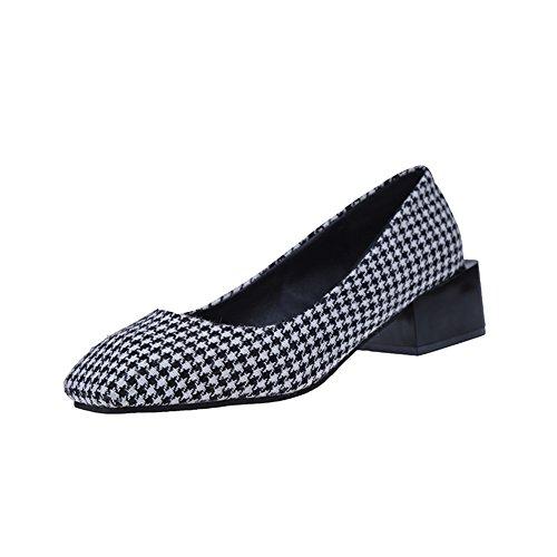 Süße Damen Ballerinas, Mode Plaid Slip-On Wedge Ferse Damen Schuhe Schwarz