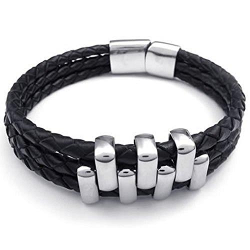 80s Costumes For Adults Diy (Epinki Stainless Steel Bracelet, Mens 3 Weave Circles Bracelet Black Length 8 Inch)