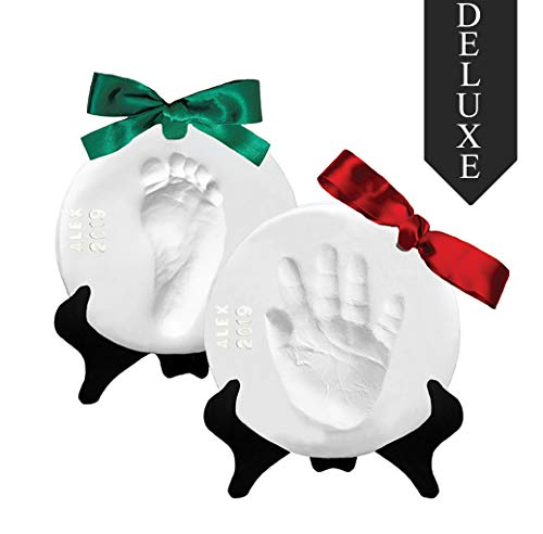 Babyprints Ornament - Proud Baby Deluxe Clay Hand Print & Footprint Keepsake Kit - Glaze Finish - Letter Stamps - 4 Ribbons - 2 EASELS - Dries Stone Hard - No Bake - Air Drying (Makes 2 Plaques)