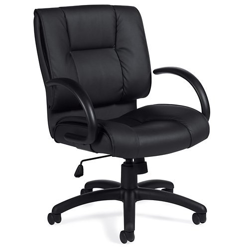 Lucia Square Back Bonded Leather Manager Chair Black Luxhide/Black Frame