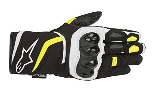 T-SP W Drystar Waterproof Motorcycle Glove (Medium, Black Yellow Fluo)