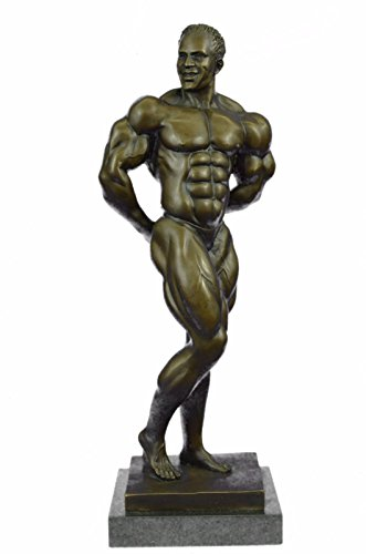 Handmade European Bronze Sculpture Abstract Muscle Man Flexing Nude Male Fitness Model Muscular