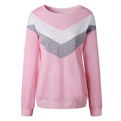Pullover Sweater Coat Long Crewneck Shirt Patchwork Outwear Sweatshirt Blouse Hoodie Sleeve Women's Hooded Tops Pink Jacket q81Rf