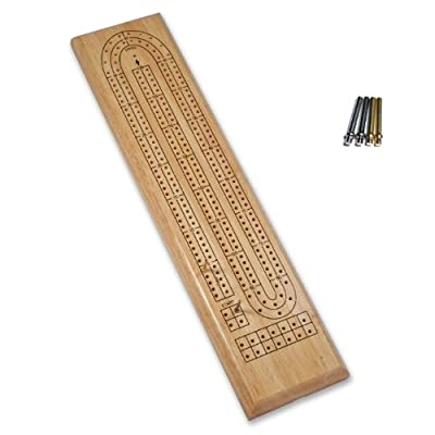 WE Games Classic Cribbage Set - Solid Wood Continuous 2 Track Board with Metal Pegs: Toys & Games