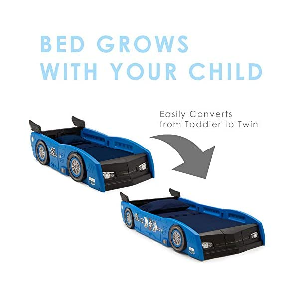 Delta Children Grand Prix Race Car Toddler and Twin Bed, Blue 2