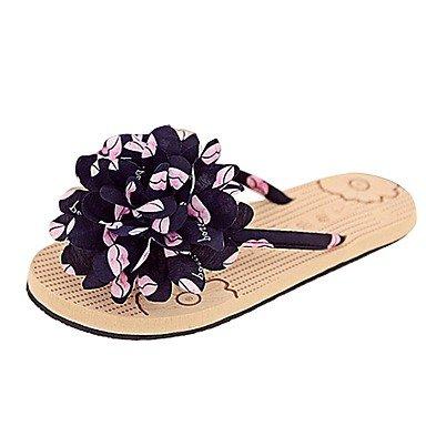 Women'szapatos Libo tal¨®n plano nuevo estilo casual Confort Flor Sunny Flip Flops sandalias negro / rosa US5.5 / EU36 / UK3.5 / CN35