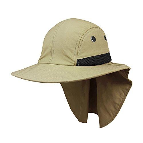Men s Khaki Fishing Boating Sun Flap Wide Bill Hat Cap