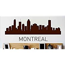 Design with Vinyl Cryst 479 1020 Brown Montreal Skyline City View Beautiful Scene Landmarks, Buildings and Water Vinyl Wall Decal Art, 8 by 30-Inch, Brown