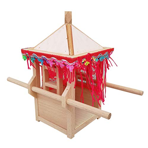 Healifty Wooden Sedan Chair Chinese Sedan Chair Model Wooden Handcraft Ornament for Home Office Decoration ()